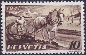 1er timbre d'Aldo Patocchi 10 ct 1941 plan Wahlen
