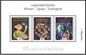 """Bloc émis en 2017 par le Liechtenstein avec le thème """"Philatélie de Jeunesse""""."""
