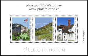 Bloc émis par le Liechtenstein pourl'exposition philexpo 17 à Wettingen