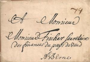 1706 Lettre de Orbe à Berne, taxe 4 Kreutzer