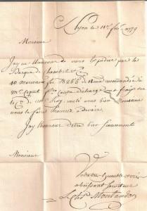 Contenu de la lettre du 11 février 1779 expédié de Nyon par barque à Genève