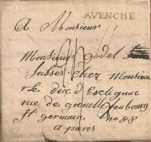 1782 lettre du 4 février 1782 de Avenches à Paris