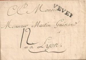 Lettre de 1791 de Vevey à Lyon , cachet LNV 23, taxe 12 sols, collection B.Matthey