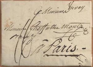 1793 Vevey_Paris avec marque postale Vevay manuscrite