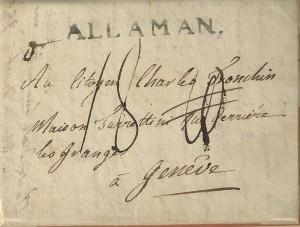 1800 28 avril ALLAMAN. verte avec point , lettre double D, taxe 18 Kreutzer