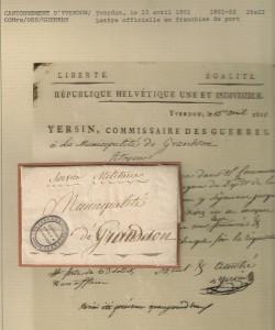 1801 Cantonnement d_Yverdon ä Grandson , cachet du commissaire Yersin , Grünew.No 700/13