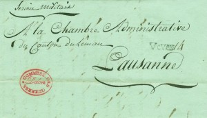 Lettre du commissaire de Guerre Deloes de Vevey à Lausanne