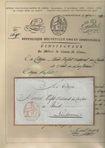 1802 lettre de l'inspecteur de milices du Canton de Léman, LNV No 70 Gr.728/13