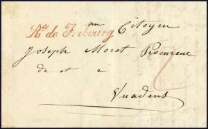 1841 Vuippens-Vuadens Rte De Fribourg, cachet apposé par le facteur