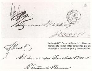 1848 Lettre des Demoiselles Doxat de Renens à Genève