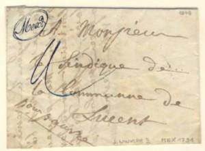 """1848 lettre Mex-Lausanne-Moudon-Lucens avec marque postale manuscrite """"Mex"""" en oval"""
