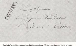 1877 cachet de la gare de Renens