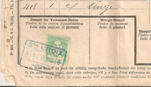 Cachet de gare de St-Croix de 1893 avec timbre vaudoise de 10 centimes sur une lettre de voiture