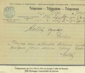 1912 Cachet RENENS - TELEGRAPHE