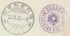 1915 Cachet RENENS * GARDE DES ENTREPOTS ensemble avec le cachet de Renens