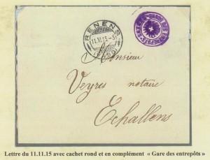 """1915 Le cachet rond RENENS accompagne le cachet """"RENENS - GARDE DES ENTREPOTS"""""""