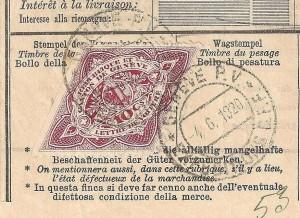 Cachet de station CFF de Genève 1920