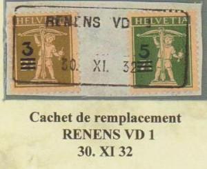 Cachet de remplacement RENENS VD 1 du 30.XI.1932