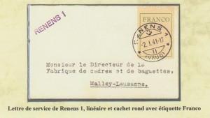 1941 Lettre de service RENENS 1 linéaire et cachet rond avec timbre FRANCO.