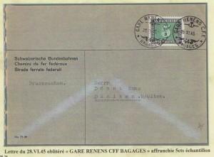 1945 Cachet RENENS - BAGAGES