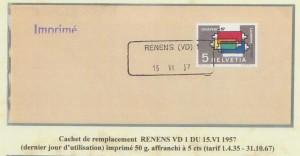 Cachet de remplacement RENENS (VD) 1 du 15.VI.1957