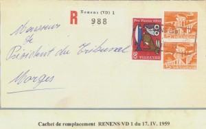 Cachet de remplacement RENENS (VD) 1 du 17.IV.1959