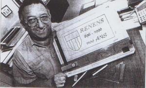 1996 La flamme-réclame pour le 1100 ans de Renens avec le créateur.