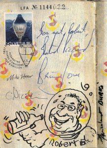 Extrait du passeport Oscherin de Robert Genoud. Conférence SPR Renens