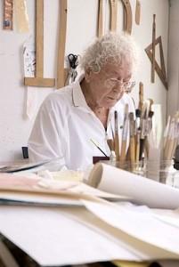 Hans Erni dans son atelier