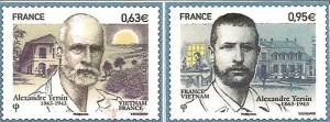 2013 timbres-postes français pour le 150ème anniversaire du Suisse Alexandre Yersin