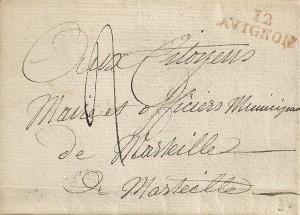 26.2.1793 Lettre de Avignon (département 12 Bouches du Rhône) à Marseille
