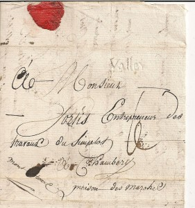 1805 Lettre de Brigue VS à Chambéry