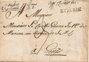 1809 Lettre de Livorno à Gênes avec cachet de transit ETRURIE probablement apposé à Gênes.