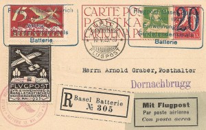 10.5.1925 Lettre vol Bâle-Zurich avec vignette et cachet monument des soldats