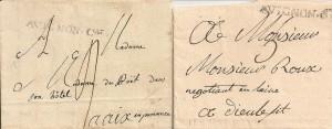 1781 marque postale no 4 (Pothion) de Avignon à Aix et 1789 marque postale no 5 (Pothion) de Avignon à Dieulefit