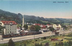 1910 Gare de Cossonay avec train à vapeur
