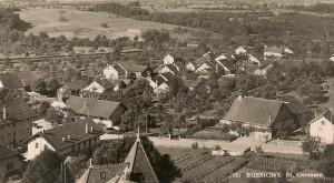 Vue depuis la colline de l'église sur le quartier St-Germain à Bussigny en 1939