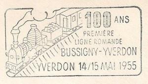 1955 Cachet pour les 100 ans de la première ligne romande Bussigny-Yverdon