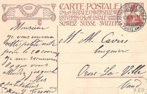 Carte postale de 1915 avec le cachet LAUSANNE-BERCHER * POSTE AMB *