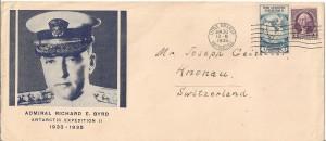 Cette lettre est daté de Brooklin 27 octobre 1934 , passait par l'Antarctique station Little America arrivé 30 janvier , départ le 25 mars 1935 et arrivait le 12 avril 1936 à Knonau Suisse , un trajet de 18 mois , qui fait mieux ?