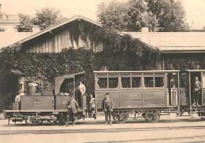 """Gare de Lausanne-Chaudron vers 1880 avec le """"Talent"""""""