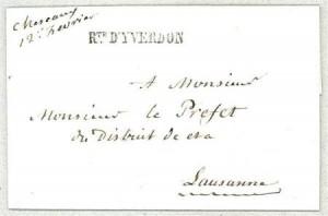 Cachet Rte d'Yverdon Winkler 4082 utilisé de 1842 à 1850