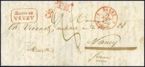 1847 Rte de Vevey avec cachet de Transit Berne T.B