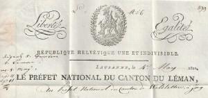 Entête d'une lettre du Préfet National du Canton du Léman (le futur canton Vaud) au Préfet National du Canton des Waldstetten (Uri , Schwyz , Unterwalden et Zoug)