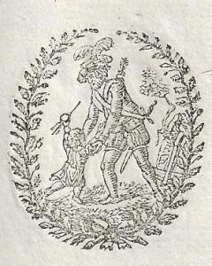 Détail d'une entête de lettre avec Guillaume Tell et son fils Walther.