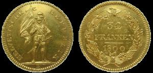 Eine Münze zu 32 Franken der Helvetischen Republik 1798-1803 (15,28 g; 29 mm Durchmesser), geprägt in Bern 1800.