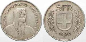 Pièce de Fr. 5.- de 1932 avec le Tell.