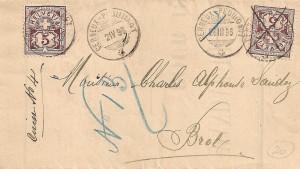 1896 Lettre de Commune de Cerneux-Péquignot qui a circulé deux fois , la première fois le 26 mars , la deuxième fois le 2 avril. Le bureau de poste s'est trompé la deuxième fois de date en mettant le 21 V au lieu du 2 IV. Zu 60A avec KZ1