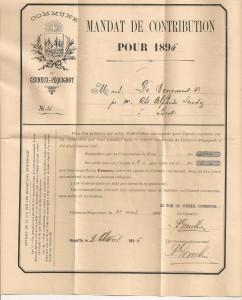 1896 Mandat de contribution de la commune de Cerneux-Péquignot