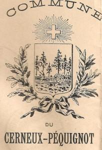 1896 Partie de l'entête des lettres de la commune de Cerneux-Péquignot dans le Canton de Neuchâtel.